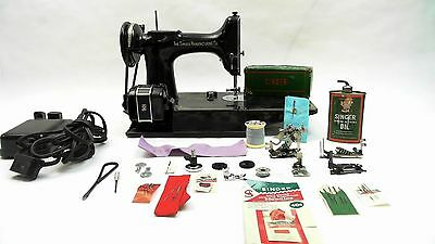 1952 Vintage 221 SINGER Portable Featherweight Sewing Machine w EXTRAS!