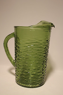 Vintage Anchor Hocking Soreno Avocado Green Large Pitcher With Ice Lip And Handl