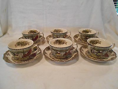 Johnson Bros Friendly Village Brown Stamp 6 Cups And Saucers
