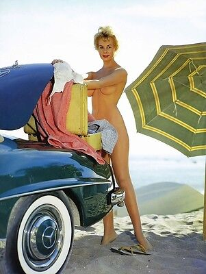 Vintage 60s Big Breasted Beach Blonde and Mercedes 8 x 10 Photograph