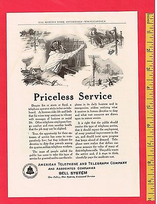 "Vintage Antique 1914 BELL TELEPHONE AT&T ""Priceless Service"" Original Ad, 7""x 9"""