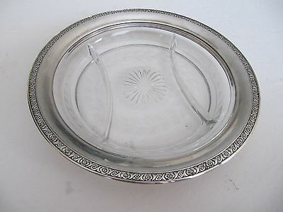 Vintage Lunt Etched Divided Glass Crystal Sterling Silver 925 Rim Plate 9""