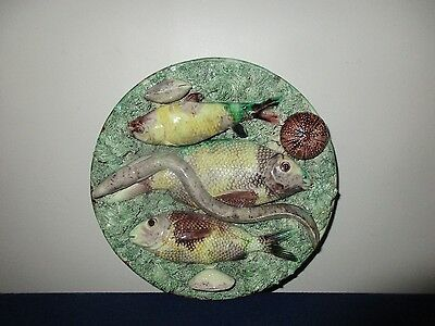Antique 19th C Mafra Majolica Portuguese Pottery Palissy Wall Plate Fish & Eel