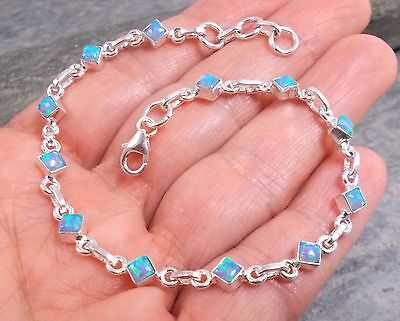 925 Silver Created Fire OPAL Bracelet B617~Silverwave*uk Jewellery