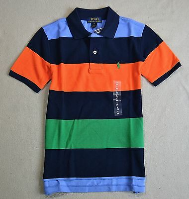 Nwt Boys Youth Polo Ralph Lauren Short Sleeve Stripe Rugby Polo Shirt Sz S-Xl