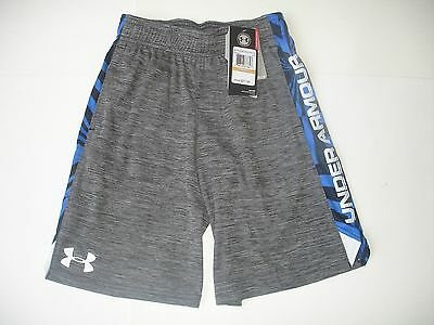 NWT Boy YSM / 8 - Under Armour Shorts - Heather Black with Royal Blue and White