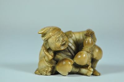Fine Vintage Japan Japanese Carved Resin Netsuke Sculpture Scholar Art