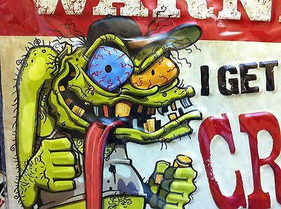 Ed Roth Style Crazy Man WARNING for My Tools Tin Metal Sign Mechanic ManCave.FUN