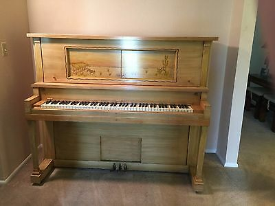Piano 1918 Davenport-Treacy Cabinet Grand Upright Player.Great for piano lessons