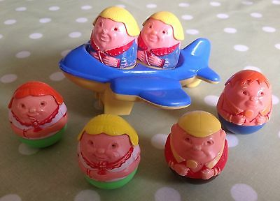 Collection of 6 Original Vintage Airfix WEEBLES toys from 1970s plus Aeroplane