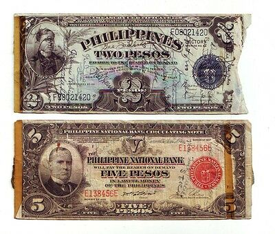 Lot of 2 old Short Snorter Philippines Banknotes