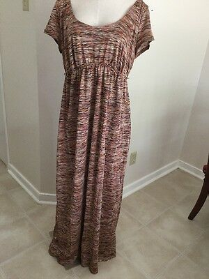 Preowned Motherhood Maternity Maxi Dress Full Length Short Sleeve Polyester XL