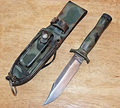 Explorer Camo Wilderness II Fixed Blade Knife w/Sheath, Vintage Survival Hunting
