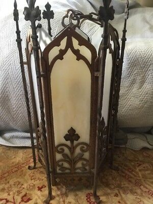 Antique Gothic Spanish Revival Santa Barbara Iron Pendant Hall Light Stunning,
