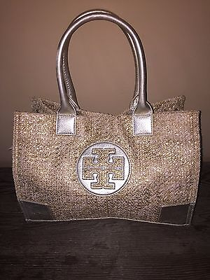 Tory Burch Silver Tote Bag 10 In X 13 In New With Defects Free Shipping