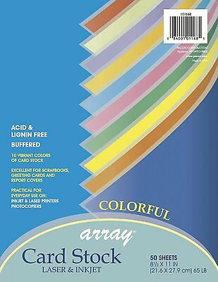 """Pacon Card Stock 8 1/2 """" x 11 """" Colorful Assortment, 50 Sheets (101168) Ships FR"""