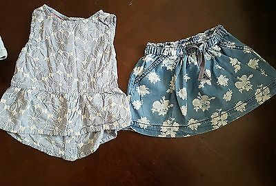 girls 12-18-24 months floral outfit tunic top & next skirt summer clothes denim