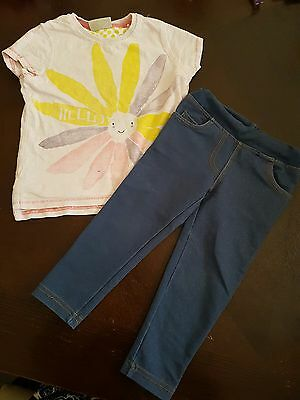 girls 18-24 months floral bee t-shirt top & jeggings leggings bundle summer next