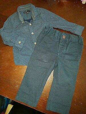 boys 12-18 months M&S shirt top navy trousers bundle smart party outfit next