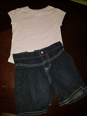 girls 9-12 months outfit t-shirt top & new shorts summer clothes denim next