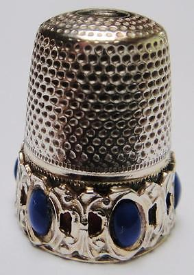 Vintage Sterling Silver THIMBLE with Blue Jeweled Band
