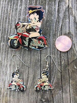 Betty Boop Biker Babe Motorcycle Dangle Biker Earrings and Pin ~ Gently Used