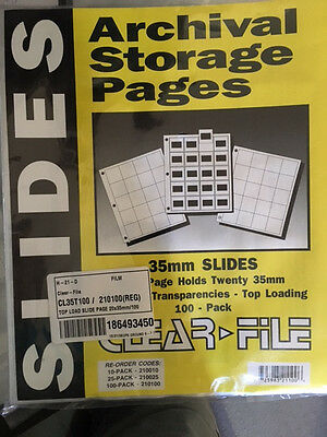 100-Pack CLEAR FILE 35mm Slide ARCHIVAL STORAGE PAGES