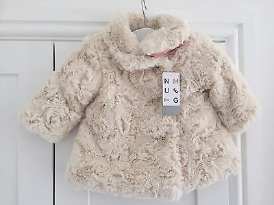 CC. BNWT Nutmeg Cream Baby Girls Faux Fur Fluffy Coat Age 3-6 Months
