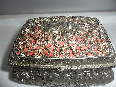Fabulous Aged Silver Plated Jewellery Box with beautiful design
