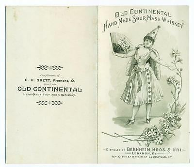 ANTIQUE 1893 OLD CONTINENTAL HAND MADE SOUR MASH WHISKEY Bernheim Bros. KENTUCKY
