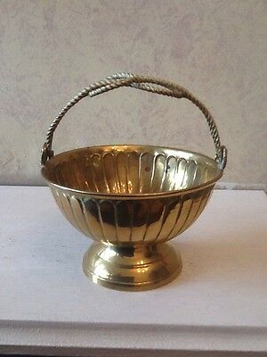 Decorative Vintage Brass Bowl With Folding Handle