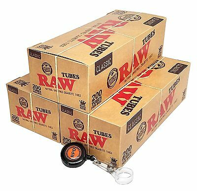 RAW Natural Unrefined King Sz Cigarette Tubes (200 per Box) 3 Boxes w/ RPD Lasso