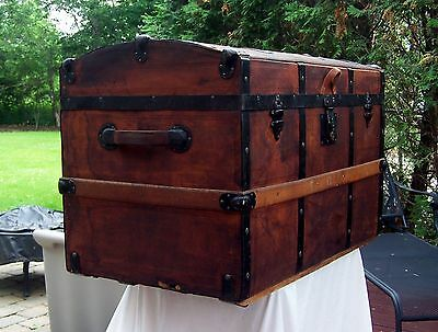 Antique leather dome top trunk