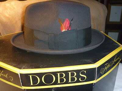 Vintage 1950's Dobbs Fedora Black Hat  & Original  Box size 7 1/4 Long Oval