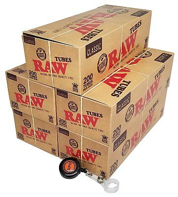 RAW Natural Unrefined King Sz Cigarette Tubes (200 per Box) 5 Boxes w/ RPD Lasso