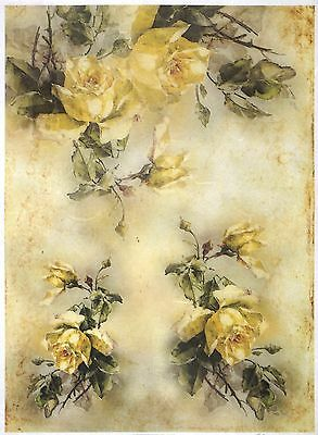 Rice Paper for Decoupage Scrapbook Craft Sheet A/3 Yellow Roses Bouquets