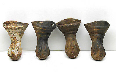 4 pc Antique Ball Eagle Claw Footed Cast Iron Bathtub Feet Matched Set #43L+43S