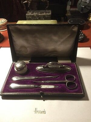 Lovely Levi and Salaman Solid Silver Manicure Set In Fitted Case