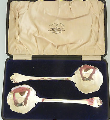 BOXED Pair of SOLID SILVER Trefid Serving SPOONS. Birmingham 1909 E S Barnsley
