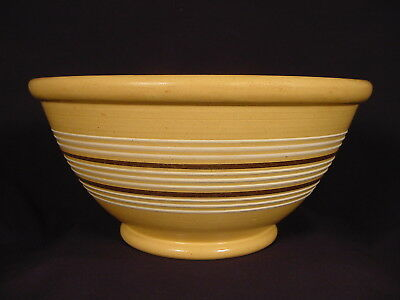 VERY RARE LARGE 1800s JEFFORDS POTTERY 12 INCH 11 BAND BOWL YELLOW WARE MINT