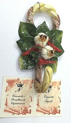 Capodimonte Porcelain-Garlic And Chilli Bundle.Made/painted by hand in Italy