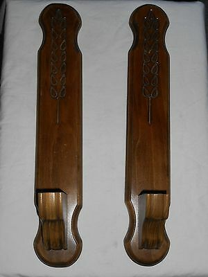 "Wooden Sconce Pair 18"" Long 3"" Home Interiors Wide Metal Hangers Leaf Carving"