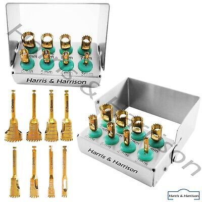 Dental Trephine Drills Kit 8pcs Implant Titanium Coated Gold With Bur Holder