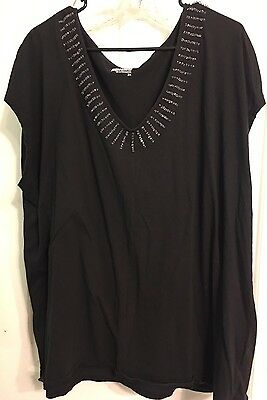 Basic Editions Women's Plus Size 3X Black Beaded Knit Top