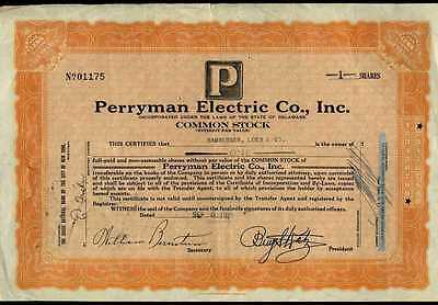 PERRYMAN ELECTRIC (Delaware) Stock Certificate, 1 share, Issued September 1929