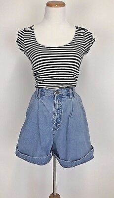 Vintage 80s 90s Pleated High Waist Light Wash Mom Jean Shorts Hipster Grunge 12