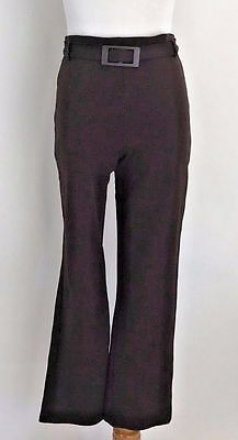 Vintage 70s High Waisted Glam Secretary Chocolate Brown Stretch Disco Pants S-M