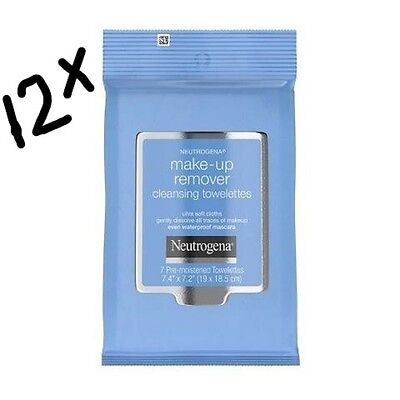 12 x Neutrogena Make-up Remover Cleansing Towelettes Wipes.12x7=84 wipes.BARGAIN