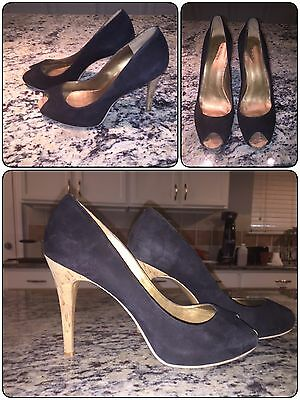 Guess Shoes Womens Heels Open Toe Suede Black Size 8M