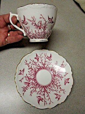 COALPORT Red BIRDS & TWIGS Gold Trim EMBOSSED EDGES England Bone TEACUP & SAUCER